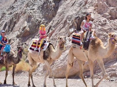 ילדים רוכבים על גמלים באילת
